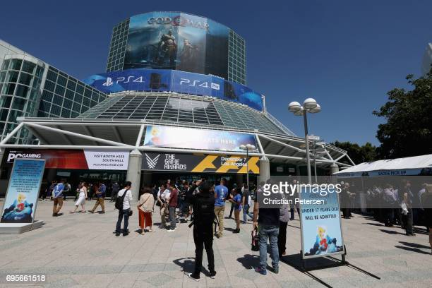 Game enthusiasts and industry personnel arrive to the Electronic Entertainment Expo E3 at the Los Angeles Convention Center on June 13 2017 in Los...