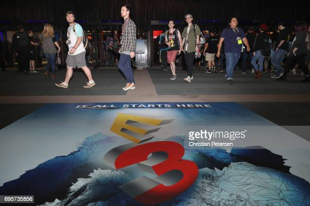 Game enthusiasts and industry personnel attend the Electronic Entertainment Expo E3 at the Los Angeles Convention Center on June 13 2017 in Los...