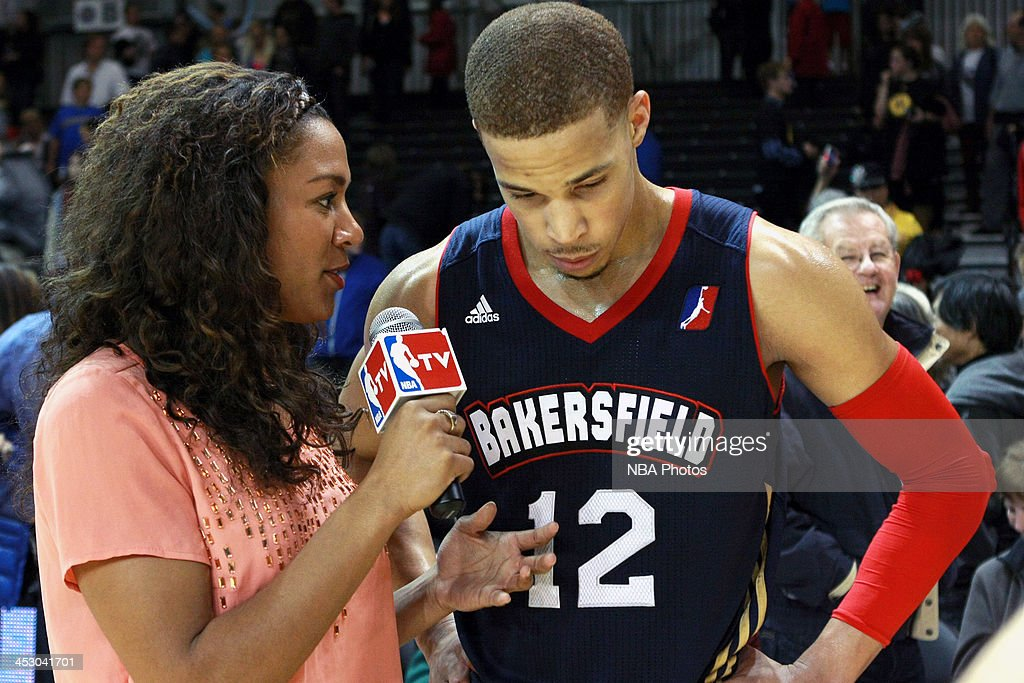 Game high scorer, <a gi-track='captionPersonalityLinkClicked' href=/galleries/search?phrase=Jared+Cunningham&family=editorial&specificpeople=6549470 ng-click='$event.stopPropagation()'>Jared Cunningham</a> #12 of the Bakersfield Jam speaks to the media after the game on November 30, 2013 at Kaiser Permanente Arena in Santa Cruz, California.