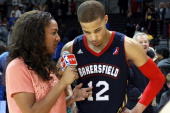 Game high scorer Jared Cunningham of the Bakersfield Jam speaks to the media after the game on November 30 2013 at Kaiser Permanente Arena in Santa...