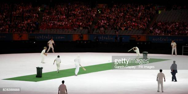 A game of backyard cricket is played in Melbourne Cricket Ground as part of the warmup show ahead of the opening ceremony of the Commonwealth Games...