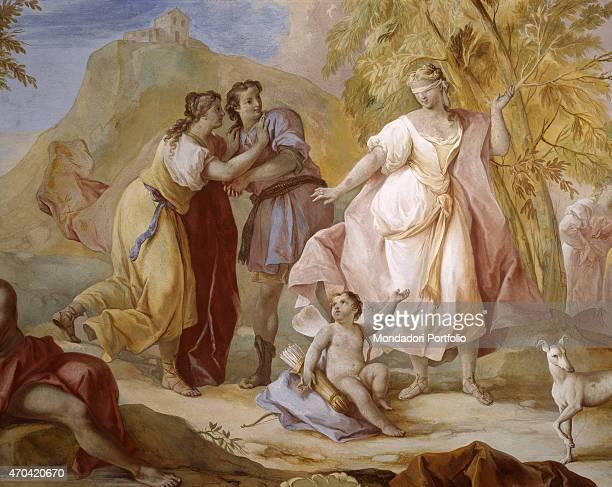 'Game of Blind Man's Buff by Jacopo Guarana c 1770 18th Century fresco Italy Veneto Padua Valnogaredo Villa Contarini Rota Piva Whole artwork view...