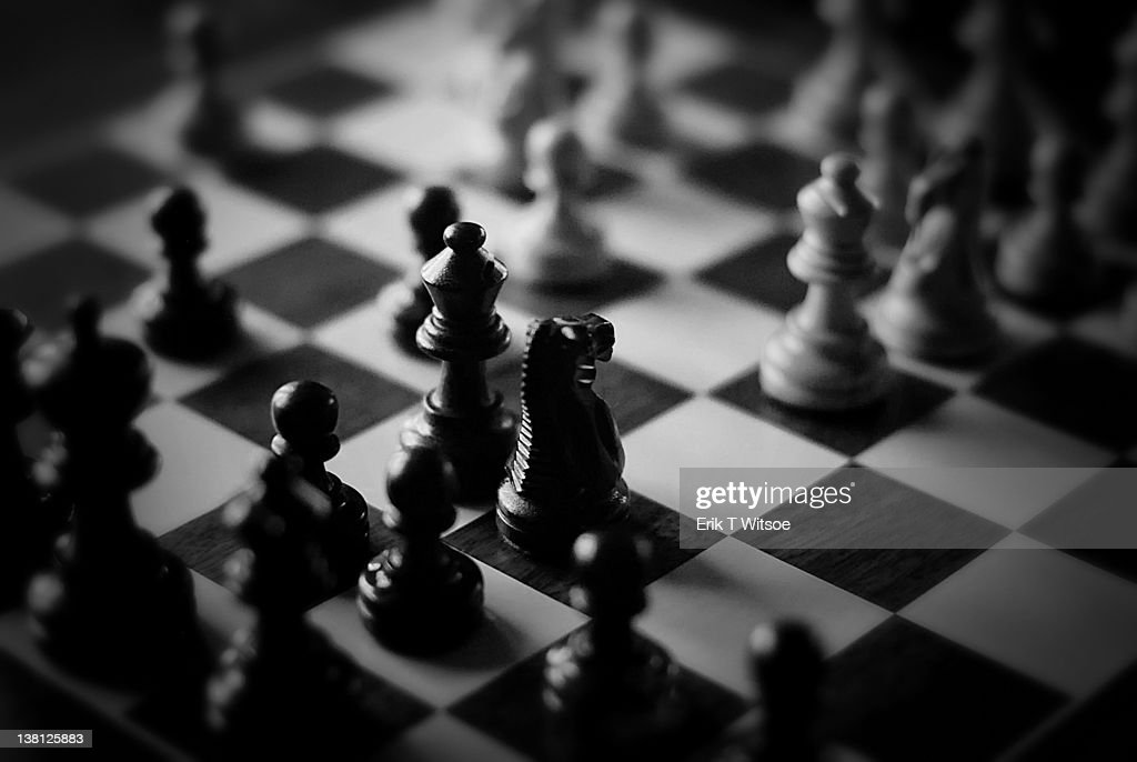 Game of chess in black and white