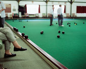 A game of indoor bowls
