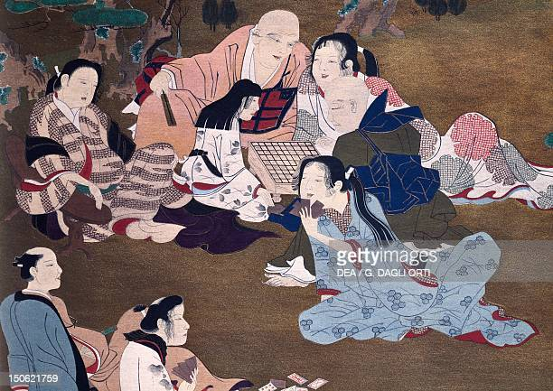 A game of Shogi in a garden by Iwasa Matabei Japan Japanese Civilisation 17th century
