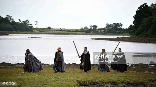 Game of Thrones fans the Preziotti family from Washington DC USA walk along Strangford Lough on a Game of Thrones tour trail on August 13 2015 in...