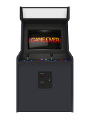 Coin operated arcade machine with game over screen