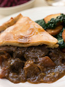 Game Pie with Fried Curly Kale and Potatoes