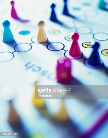 Game Pieces on a Board Game : Stock Photo