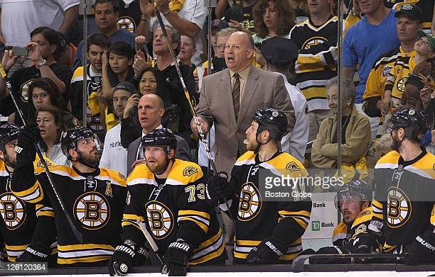 Game Seven of the Eastern Conference Finals Bruins coach Claude Julien still yells out instructions with seconds left in the 3rd period as players...
