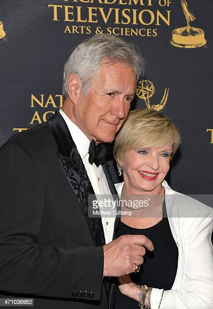 Game show host Alex Trebek and actress Florence Henderson attend the 42nd Annual Daytime Creative Arts Emmy Awards at Universal Hilton Hotel on April...