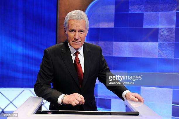 Game show host Alex Trebek poses on the set of the 'Jeopardy' Million Dollar Celebrity Invitational Tournament Show Taping on April 17 2010 in Culver...