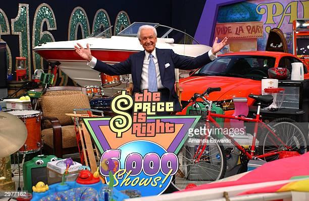 Game show host Bob Barker poses among prizes at the 'Price is Right' 6000th show taping on February 12 2004 at the CBS Television Studio in Los...