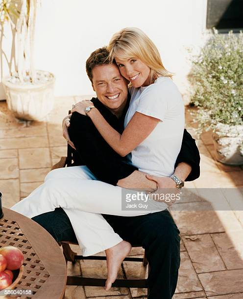 Game show host Todd Newton and wife Silver Newton are photographed for InTouch Weekly in 2003 at home in Los Angeles California PUBLISHED IMAGE