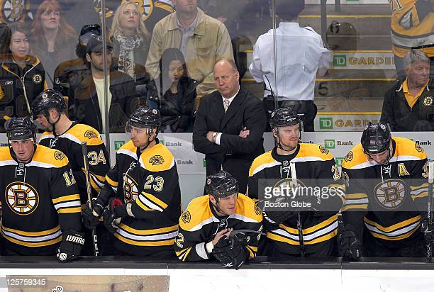 Game two of the Eastern Conference Quarterfinals The Bruins bench looks glum as time runs out in the game with the Bruins losing 31 and coach Claude...