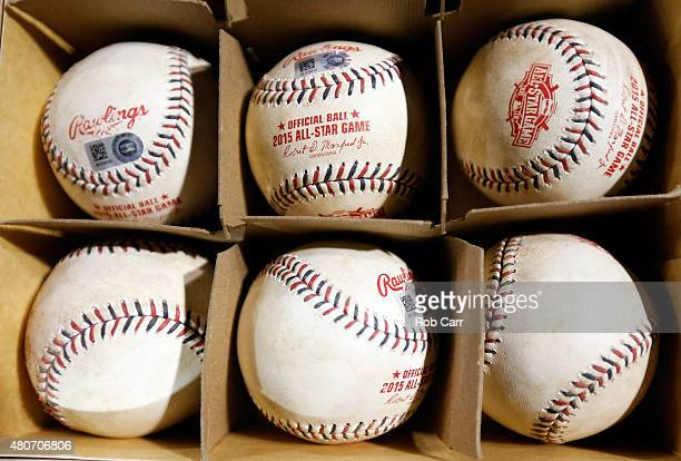 Game used baseballs are seen during the 86th MLB AllStar Game at the Great American Ball Park on July 14 2015 in Cincinnati Ohio
