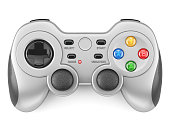 Silver gamepad controller isolated on white background 3d