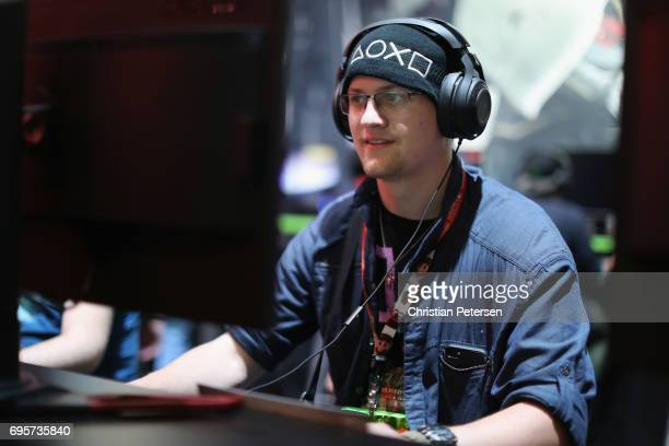 Gamer Carson Wutkee competes in PC gaming at the 'Nvidia' booth during the Electronic Entertainment Expo E3 at the Los Angeles Convention Center on...