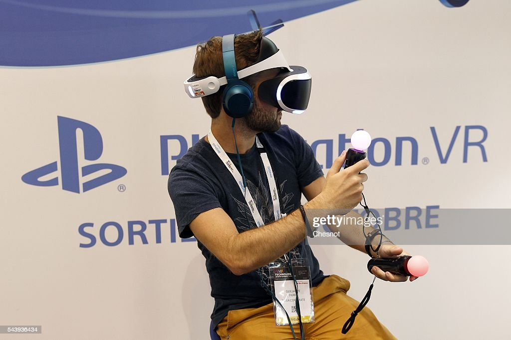 A gamer plays a video game with the virtual reality head-mounted display 'Playstation VR' during the Viva Technology show on June 30, 2016 in Paris, France. Viva Technology Startup Connect, the new international event brings together 5,000 startups with top investors, companies to grow businesses and all players in the digital transformation who shape the future of the internet.