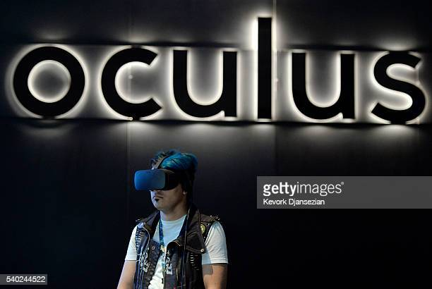 A gamer uses an Oculus Rift headset in the Oculus booth during the annual E3 2016 gaming conference at the Los Angeles Convention Center on June 14...