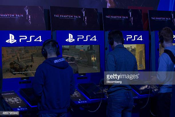 Gamers play the video game Metal Gear Solid on the Sony Corp Playstation 4 at the EGX 2015 video gaming conference in Birmingham UK on Thursday Sept...