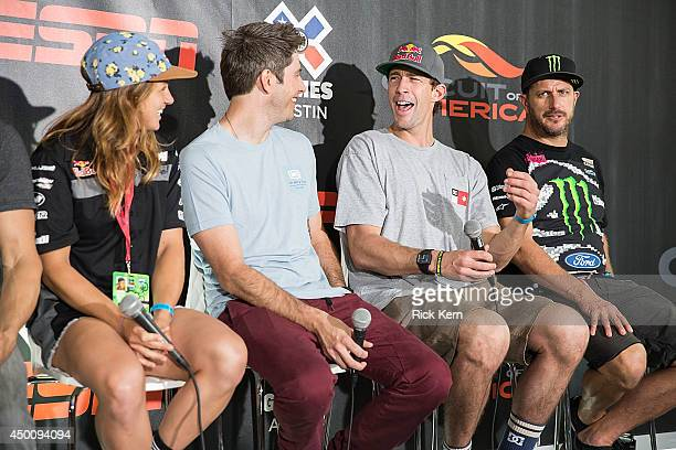 X Games Austin athletes Tarah Gieger Arie Luyendyk Jr Travis Pastrana and Ken Block attend the X Games Austin Athlete KickOff Press Conference at the...
