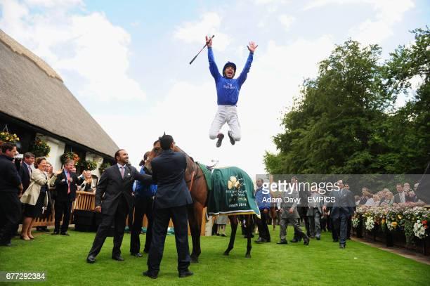 Gamilati ridden by Frankie Dettori celebrates winning the Irish Thoroughbred Marketing Cherry Hinton Stakes
