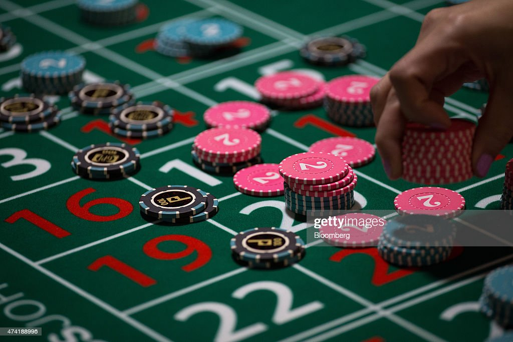 Gaming chips are placed on a roulette table during the All Asia Dealers' Championship at the Global Gaming Expo inside the Venetian Macau resort and...