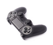Gaming console black plastic analog controller gamepad device isolated over the white background