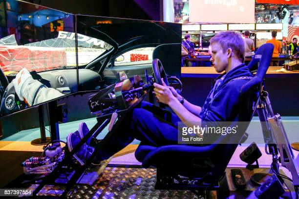 A gaming enthusiast visits the Gamescom 2017 gaming trade fair on August 22 2017 in Cologne Germany Gamescom is the world's largest digital gaming...