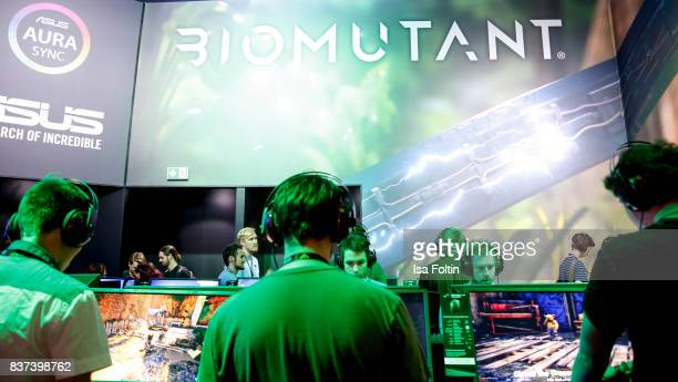 Gaming enthusiasts try out the virtual reality game 'Biomutant' at the Gamescom 2017 gaming trade fair on August 22 2017 in Cologne Germany Gamescom...