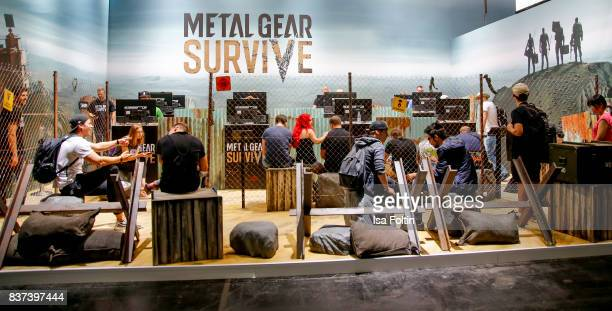 Gaming enthusiasts visit the business area of the Gamescom 2017 gaming trade fair on August 22 2017 in Cologne Germany Gamescom is the world's...