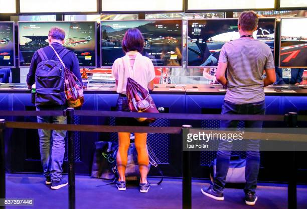 Gaming enthusiasts visit the Gamescom 2017 gaming trade fair on August 22 2017 in Cologne Germany Gamescom is the world's largest digital gaming...