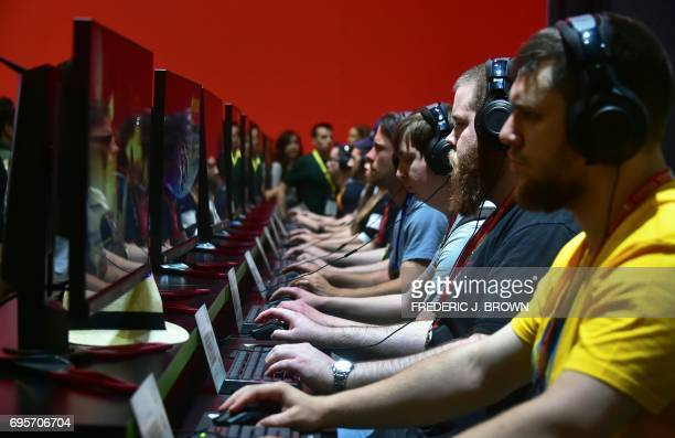Gaming fans play Destiny2 with Nvidia partnership at the Los Angeles Convention center on day one of E3 2017 the three day Electronic Entertainment...