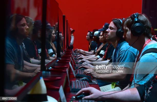 Gaming fans play 'Destiny2' with Nvidia partnership at the Los Angeles Convention Center on day one of E3 2017 the three day Electronic Entertainment...