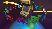 Funky high quality 3D render of a globe with a classic arcade machine on it and some cool game icons around it.