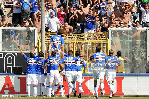 Gampaolo Pazzini of Sampdoria celebrates after scoring the opening goal during the Serie A match between US Citta di Palermo and UC Sampdoria at...