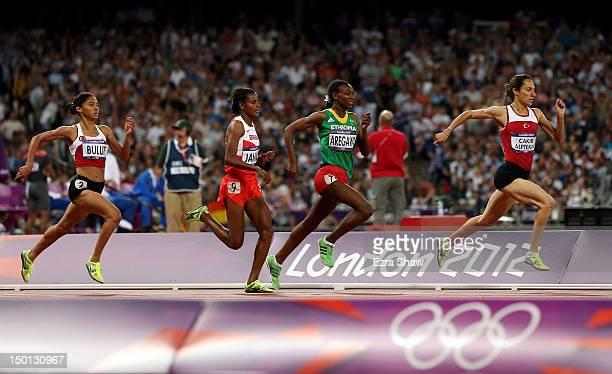 Gamze Bulut of Turkey Maryam Yusuf Jamal of Bahrain Abeba Aregawi of Ethiopia and Asli Cakir Alptekin of Turkey compete in the Women's 1500m Final on...