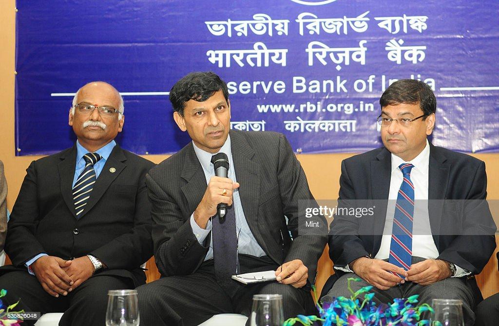 R Gandhi, Deputy Governor, Raghuram Rajan, Governor of Reserve Bank of India and Urjit Patel, Deputy Governor of RBI, addressing a press conference after board meet on December 11, 2015 in Kolkata, India.