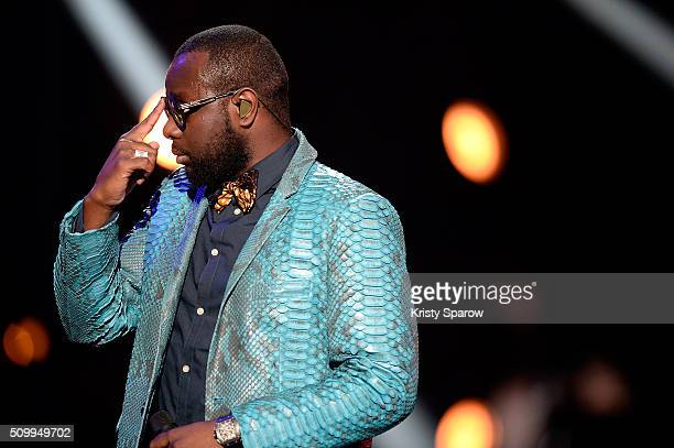 Gandhi Djuna better known by his stage name Maitre Gims performs onstage during the 31st 'Victoires de la Musique' French Music Awards Ceremony at Le...
