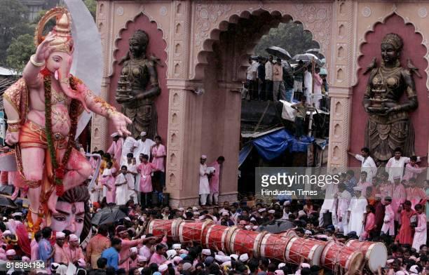 Ganeshotsav Ganesh Idol Immersion Visarjan Ganesh Gullycha Raja Ganpati procession at Lalbaug in Mumbai on Friday