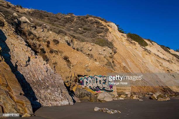 Gang graffiti is spray painted on the side of a concrete highway drain at Gaviota State Beach on November 15 in Gaviota California Because of its...