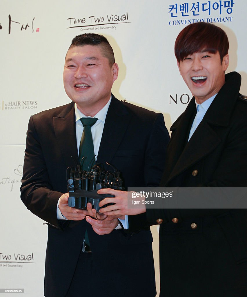Gang Ho-Dong and U-Know of TVXQ attend Hong Rok-Gi's wedding at Convention diaMant on December 16, 2012 in Seoul, South Korea.