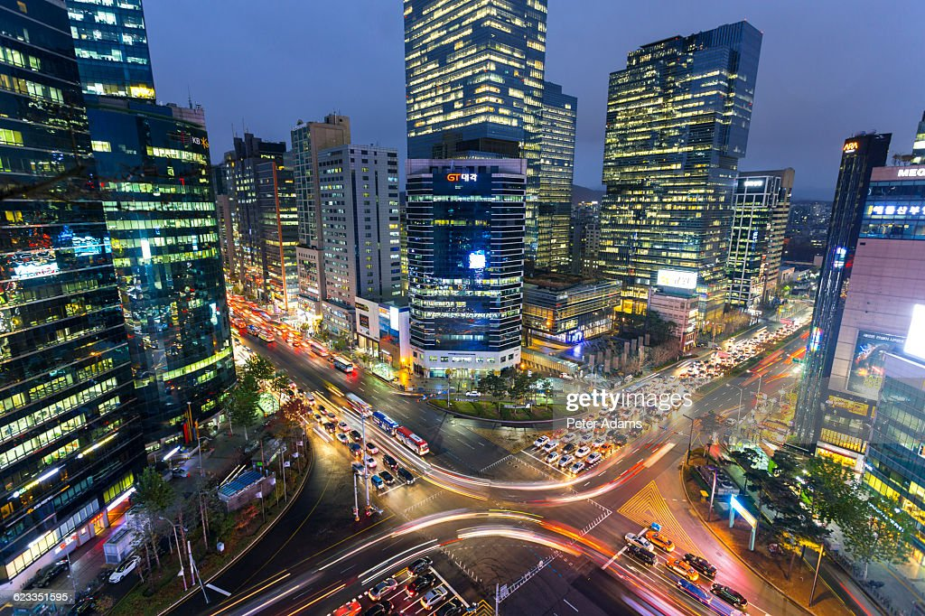 Gangnam District At Dusk Seoul South Korea Stock Photo ...