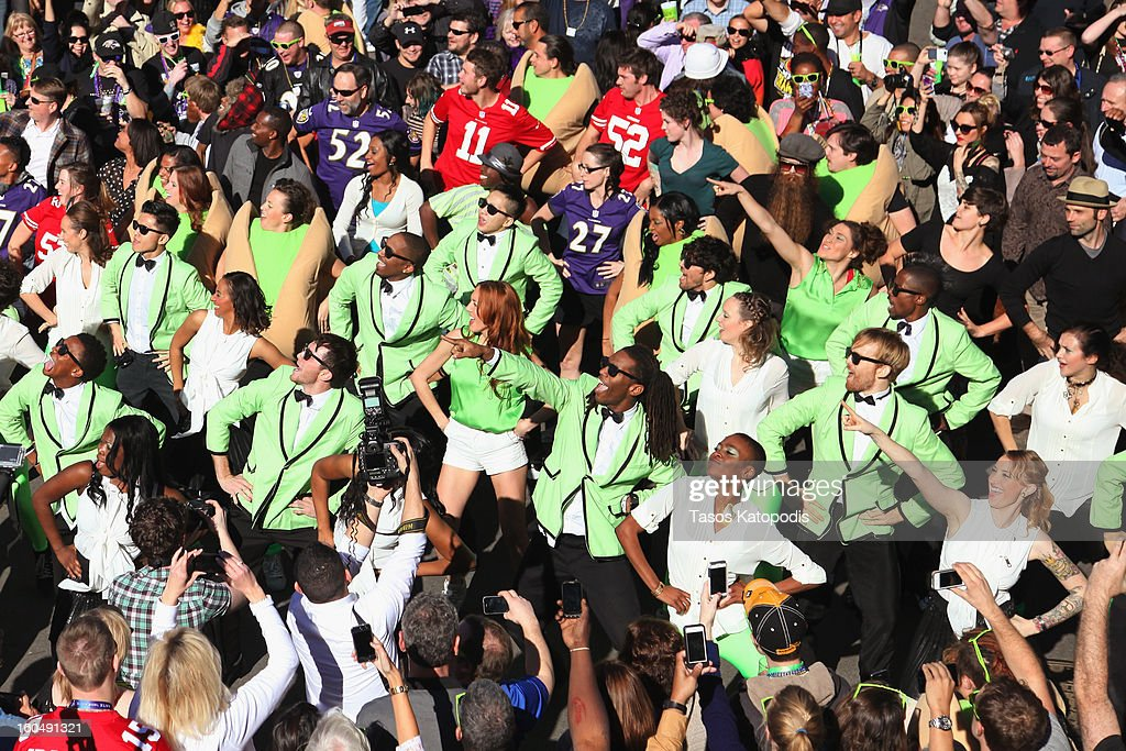 'Gangnam Style' flash mob breaks out on Bourbon Street to celebrate Psy's Wonderful Pistachios Super Bowl commercial on February 1 2013 in New...