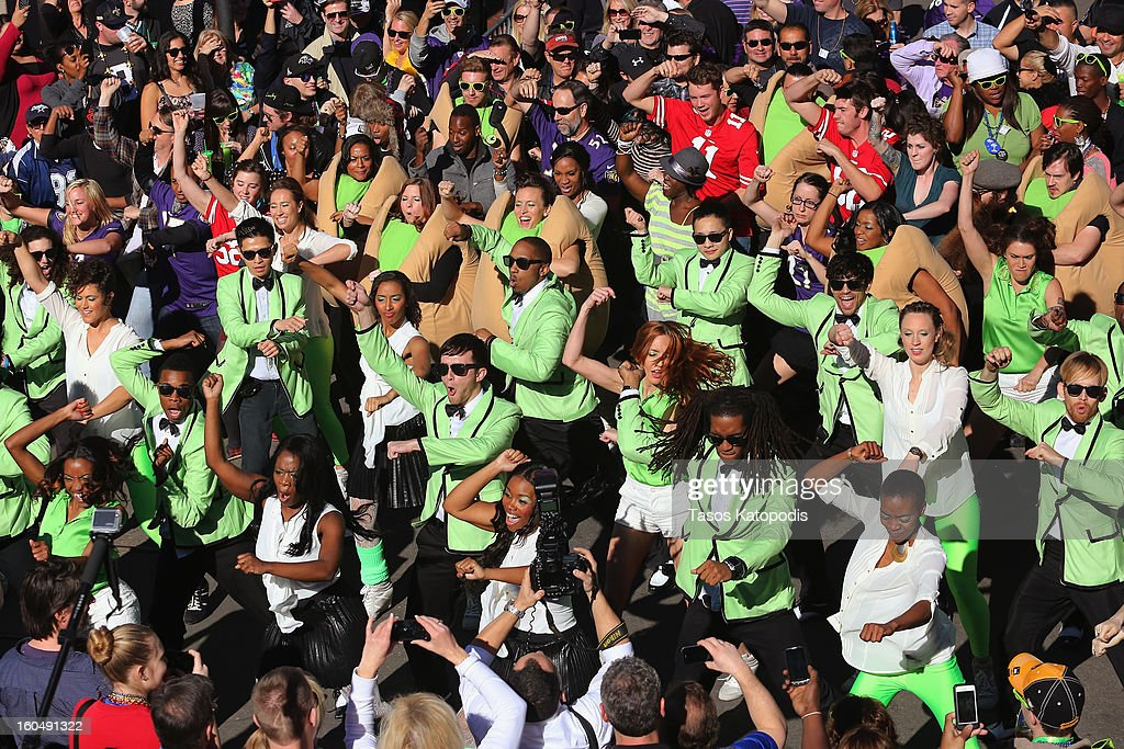 'Gangnam Style' flash mob breaks out on Bourbon Street to celebrate Psy's Wonderful Pistachios Super Bowl commercial on February 1, 2013 in New Orleans, Louisiana.