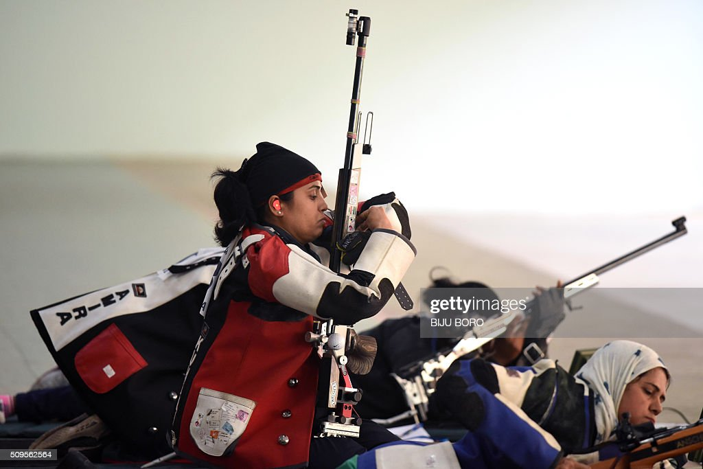 Gangulee Kuheli of India prepares to shoot as she takes part in the final of the 50m free rifle event at a shooting range in Guwahati at the 12th South Asian Games 2016 at Indira Gandhi Athletics Stadium in Guwahati on February 11, 2016. AFP PHOTO/ Biju BORO / AFP / BIJU BORO