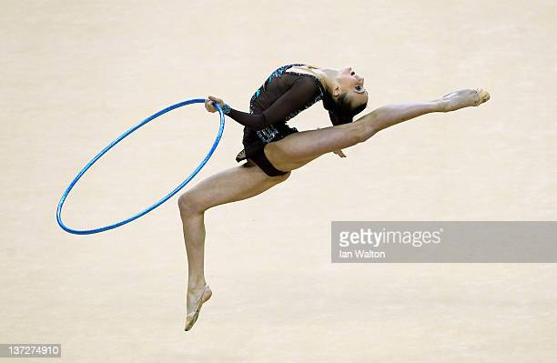 Ganna Rizatdinova of Ukraine in action in the Individual AllAround Final during the FIG Rhythmic Gymnastics at North Greenwich Arena on January 18...