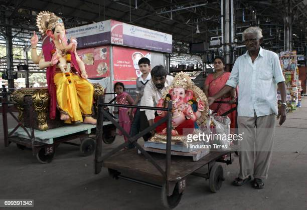 Ganpati Idols been take from by Hindu devotees from Mumbai to Surat and Nausari by western railways Mumbai Central in Mumbai on Sunday