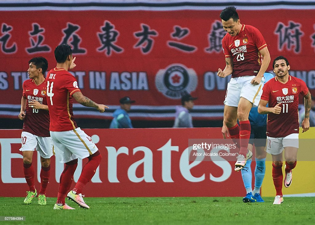 <a gi-track='captionPersonalityLinkClicked' href=/galleries/search?phrase=Gao+Lin&family=editorial&specificpeople=590386 ng-click='$event.stopPropagation()'>Gao Lin</a> of Guangzhou Evergrande celebrates after scoring a goal during the AFC Asian Champions League match between Guangzhou Evergrande FC and Sydney FC at Tianhe Stadium on May 3, 2016 in Guangzhou, China.